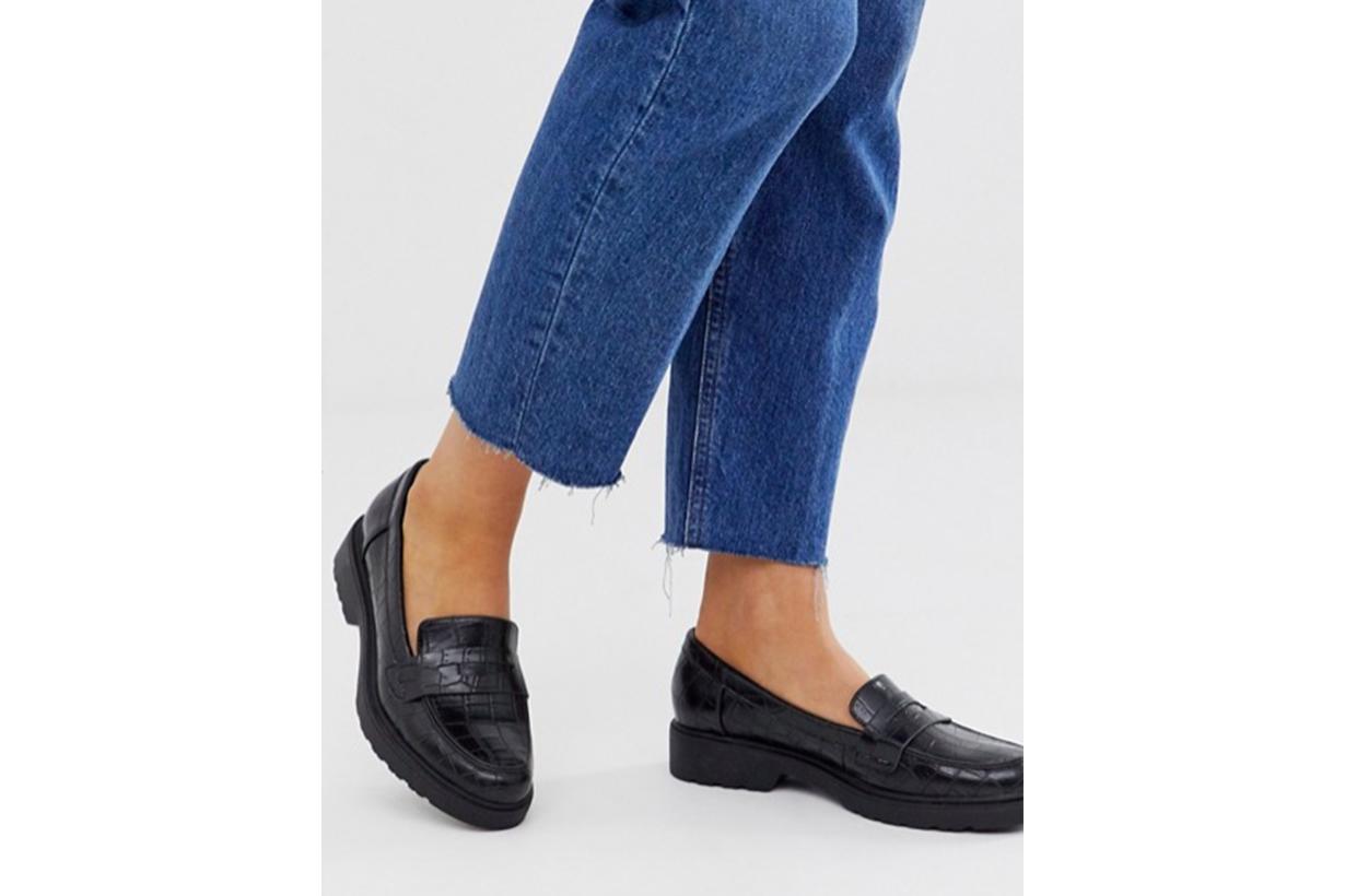 Glamorous Black Croc Effect Chunky Loafers