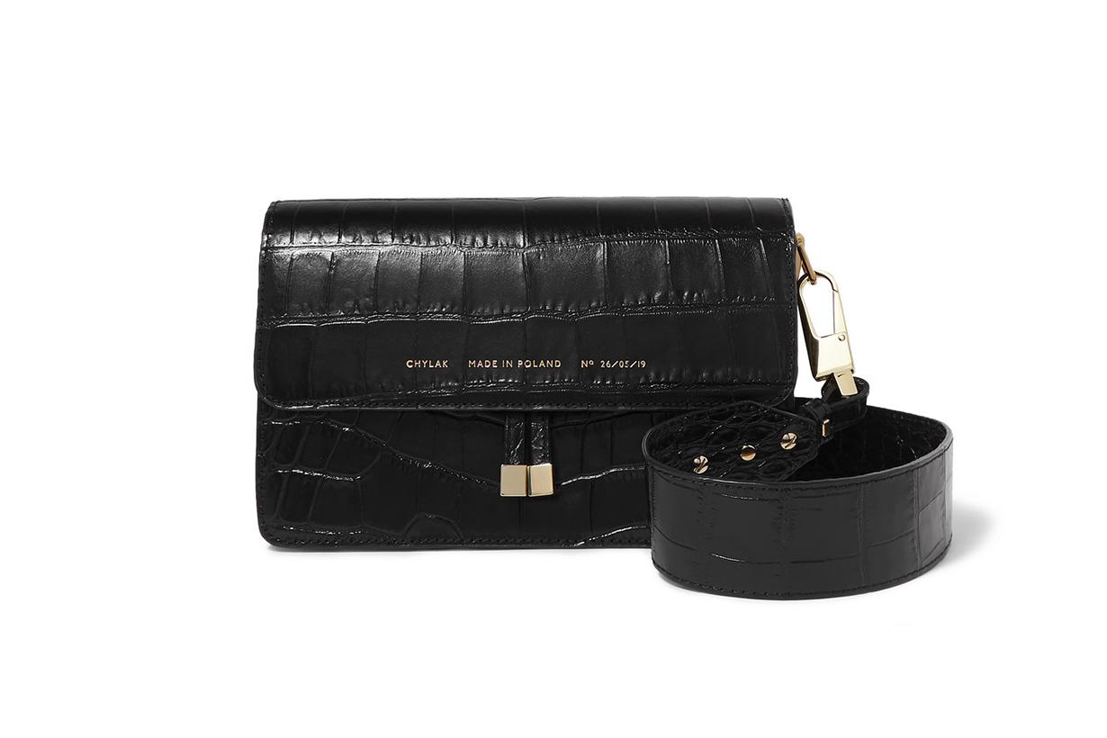 Glossed Croc-Effect Leather Shoulder Bag
