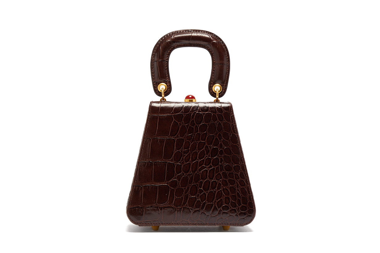 Kenny Top-Handle Crocodile-Embossed Leather Bag