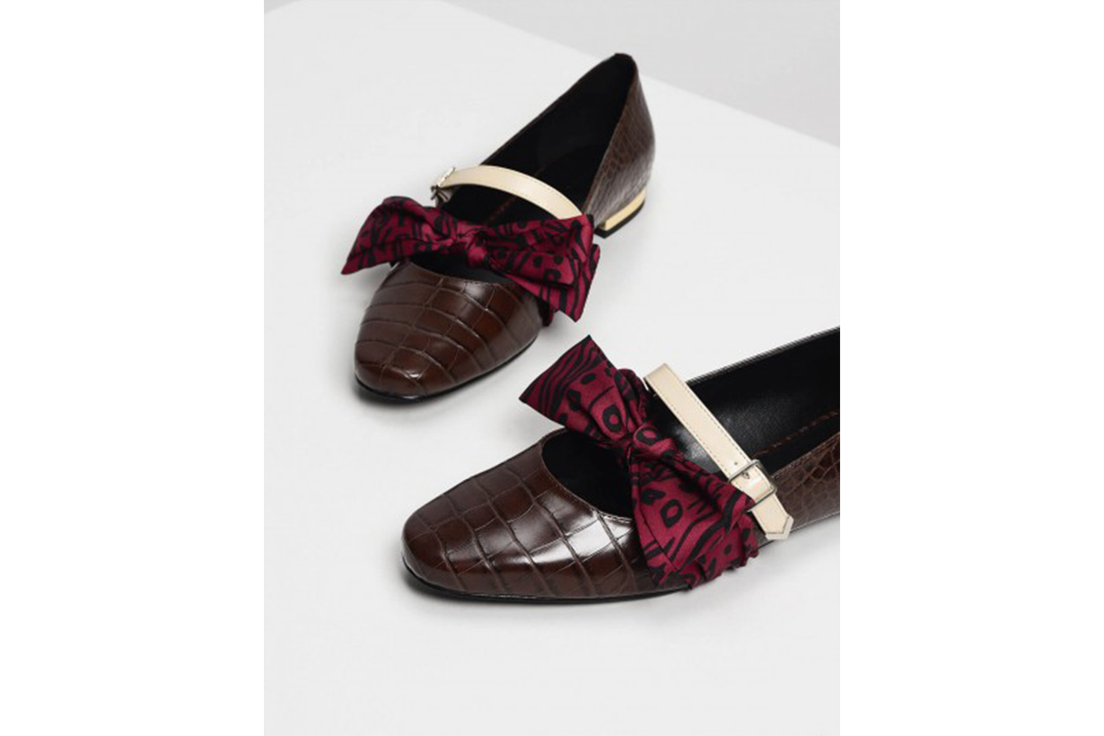 Knotted Bow Mary Jane Flats