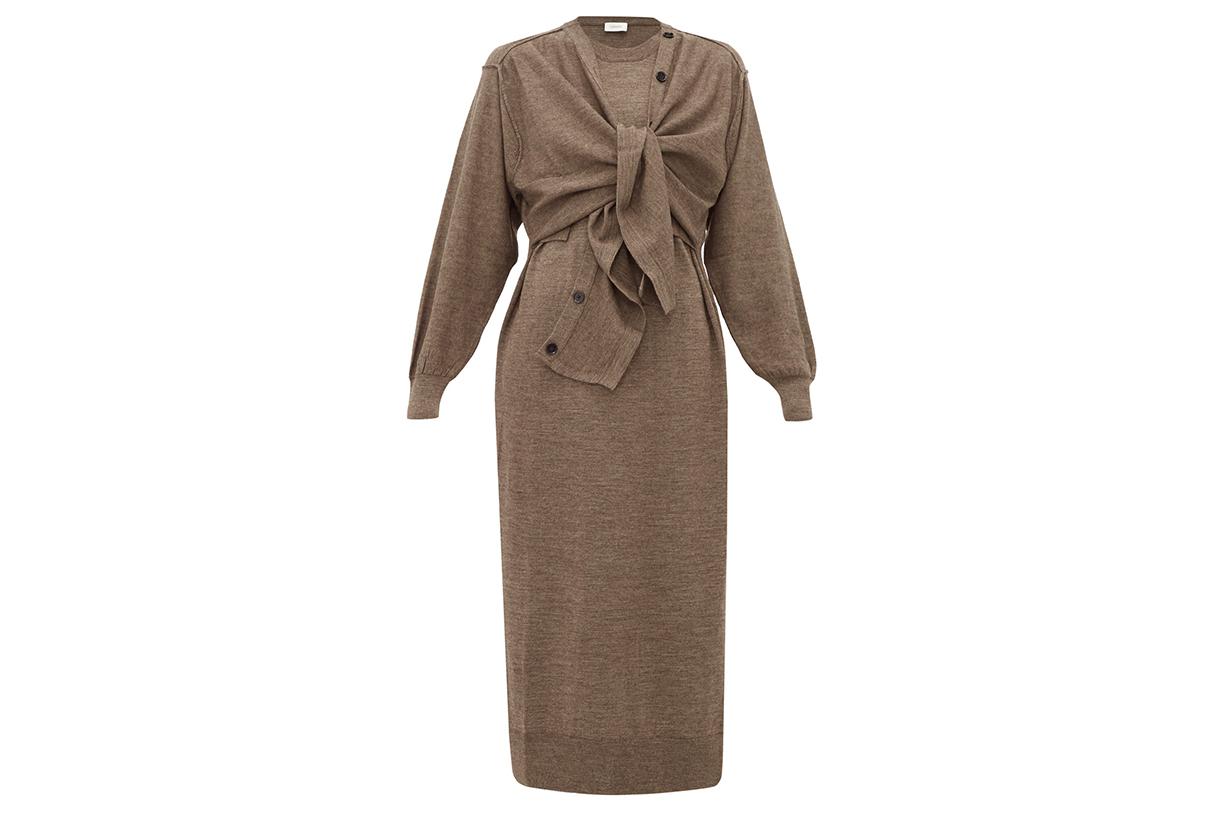 Layered Wool-Blend Cardigan Dress