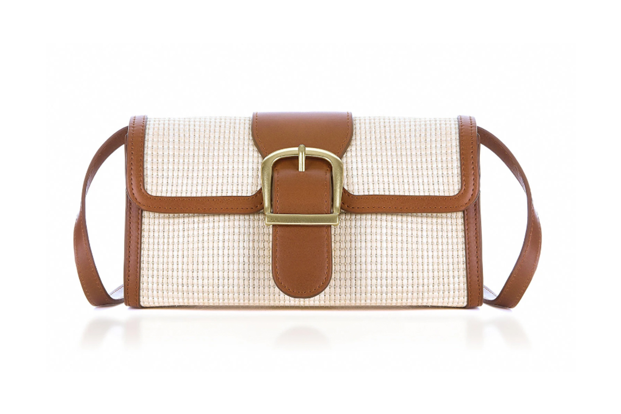 Rylan Leather-Trimmed Rattan Shoulder Bag