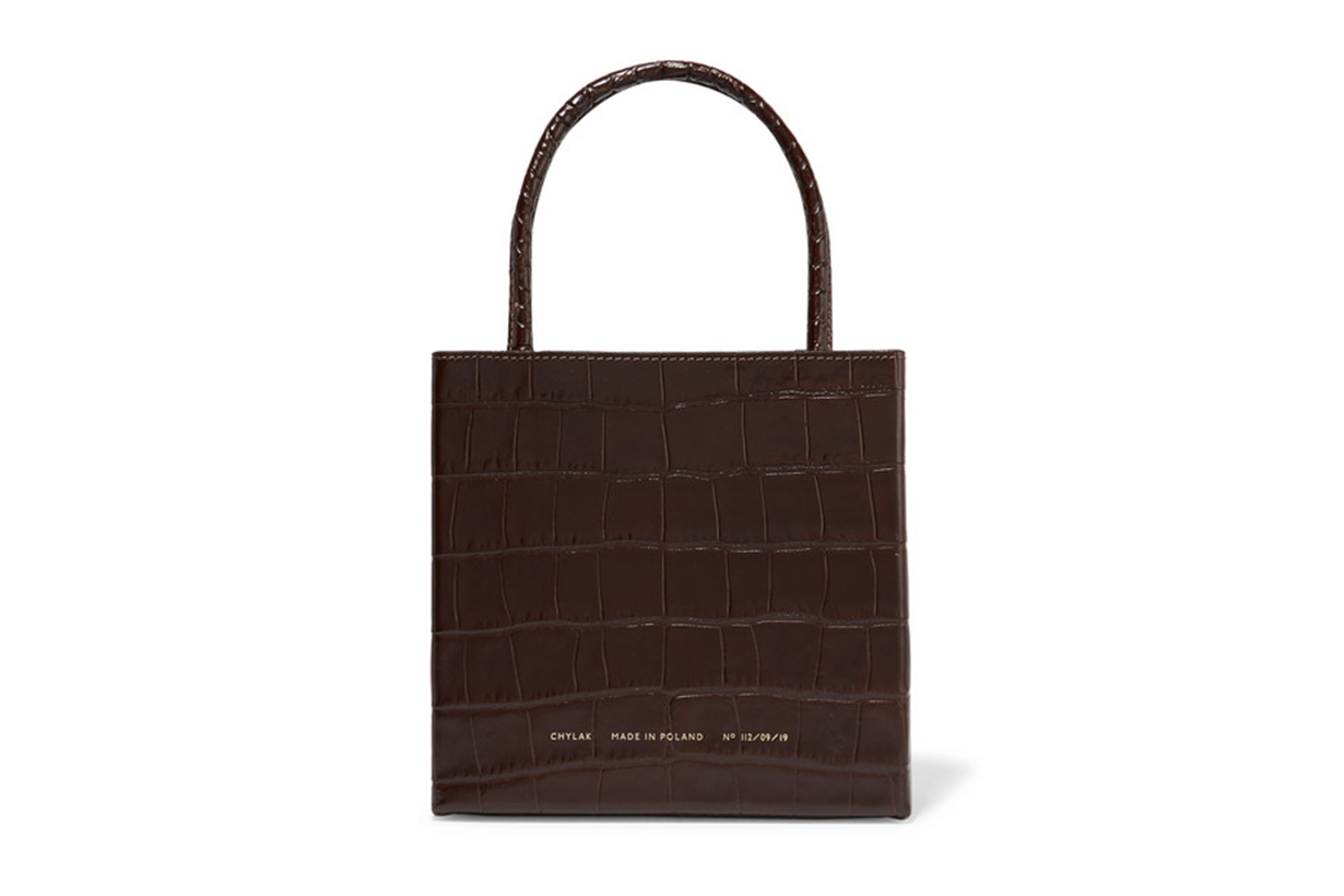Square Gossed Croc-Effect Leather Tote