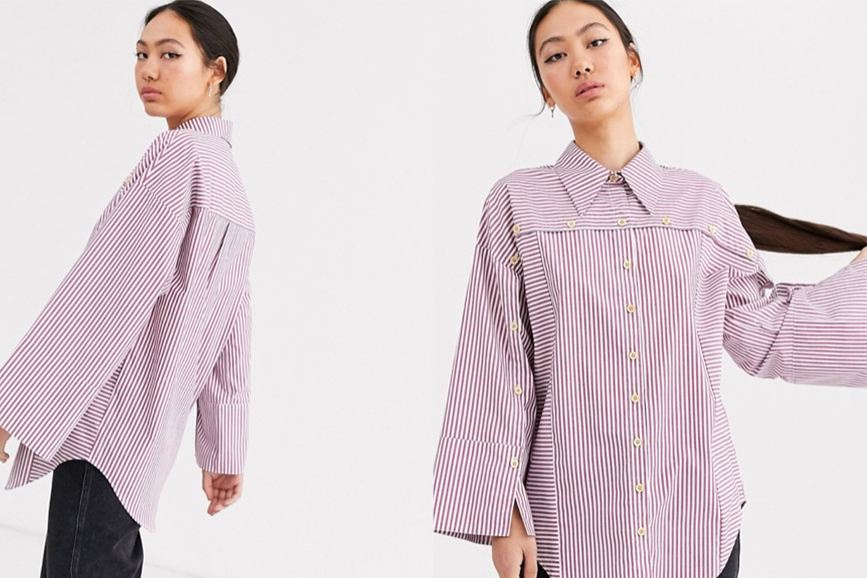 Stripe Wooden Button Detail Shirt