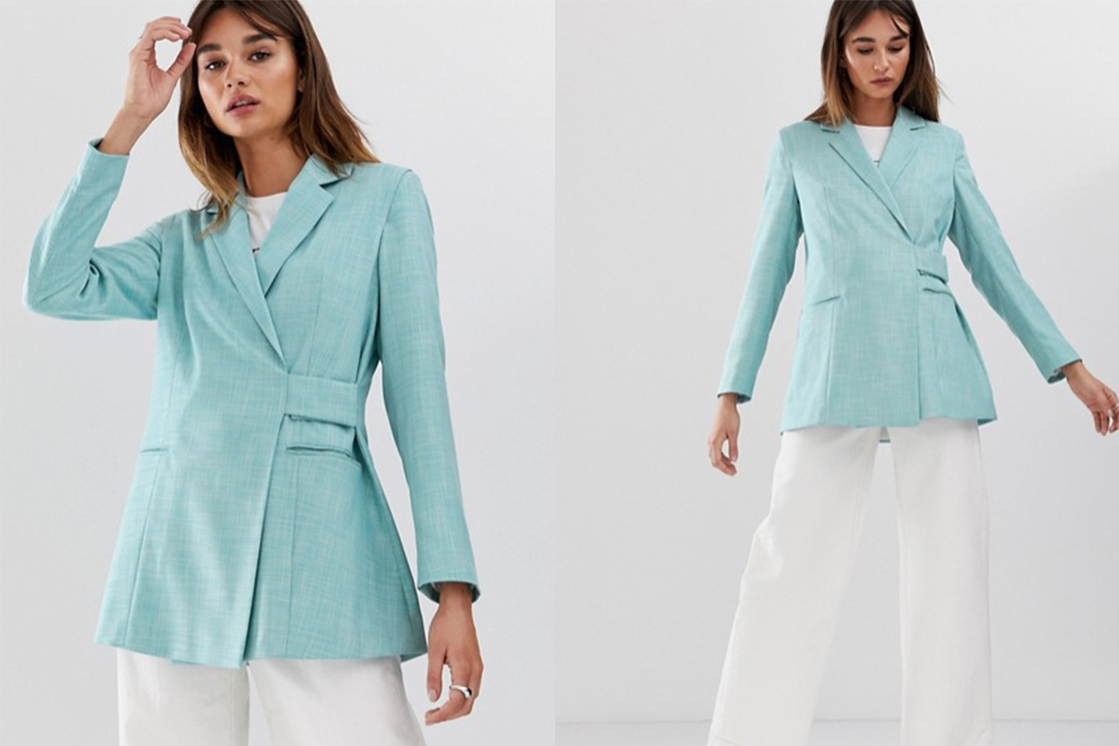 Tab Detail Textured Suit Jacket