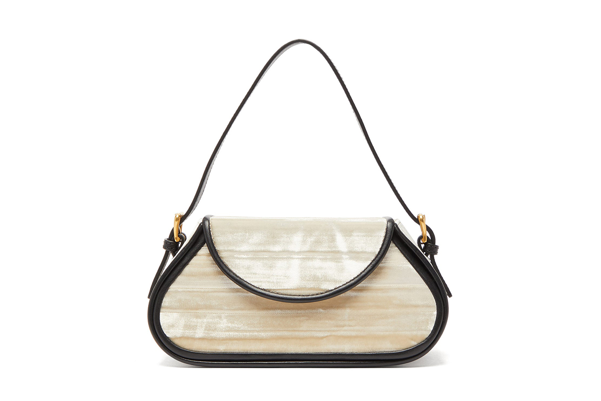 Uma Leather-Trimmed Velvet Shoulder Bag