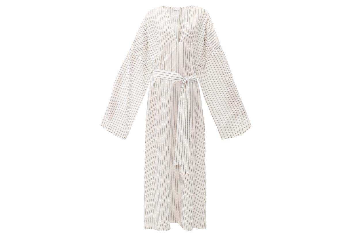 Wide-Sleeve Striped Sheer-Cotton Beach Dress