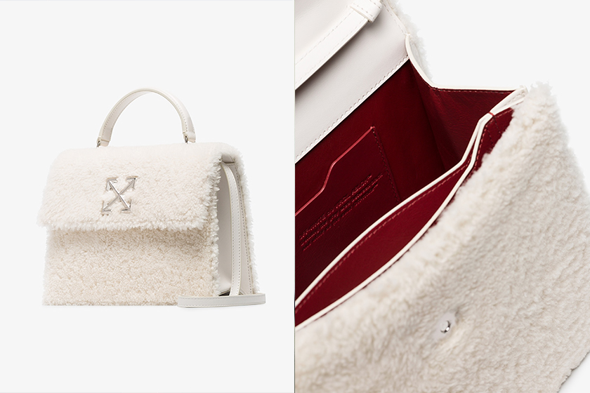 Off-White White Monotone 2.8 Shearling Leather Tote Bag
