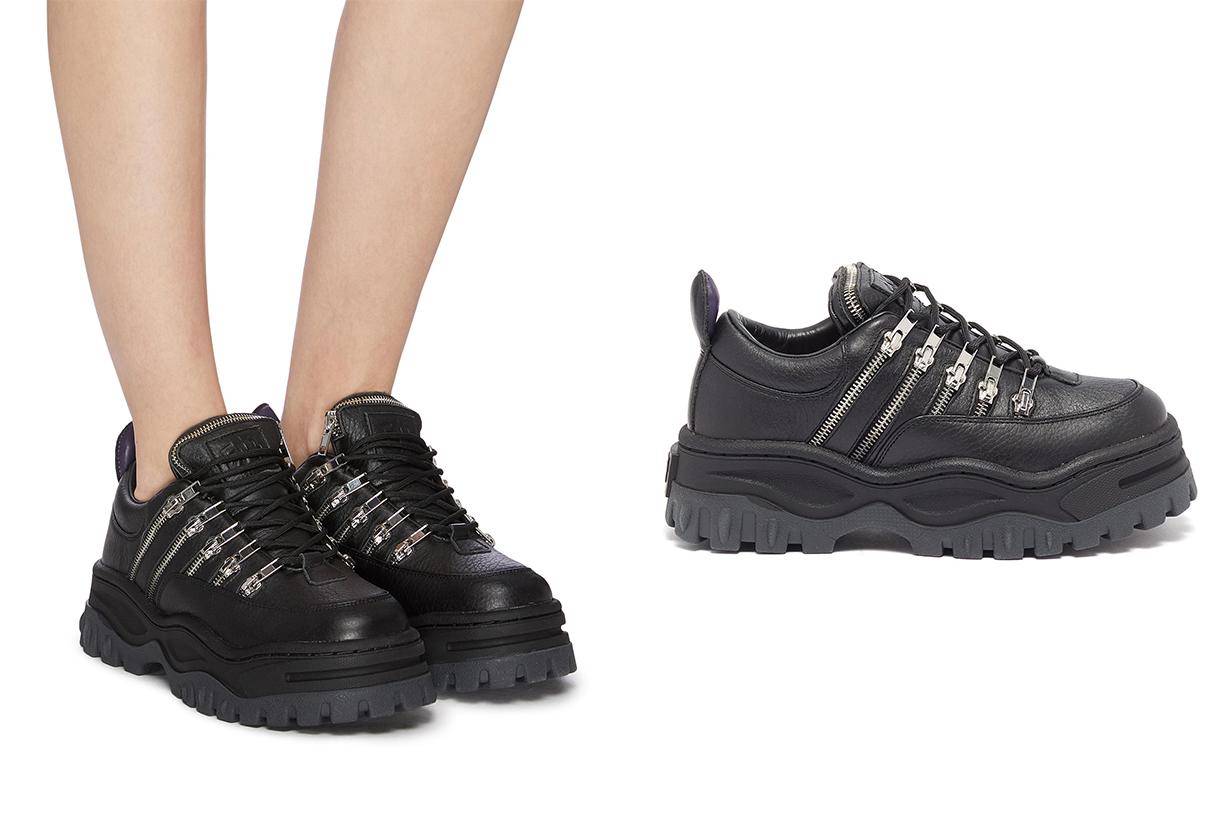 Angel Stash Zip Leather Chunky Sneakers