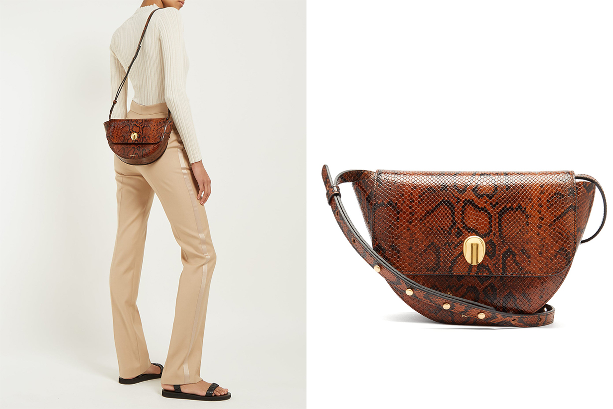 Billy Snake-Effect Leather Shoulder Bag