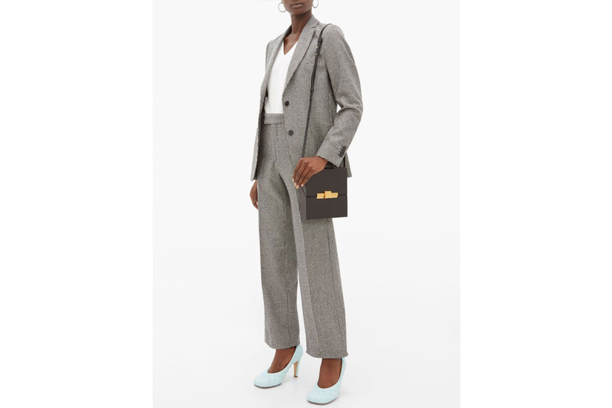 Celeste Houndstooth-Check Wool Trousers