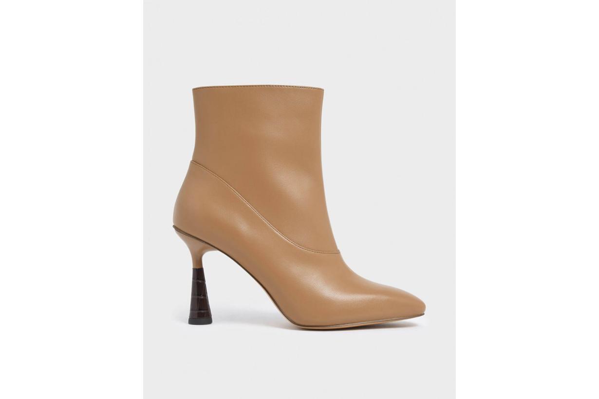 Croc-Effect Sculptural Heel Ankle Boots