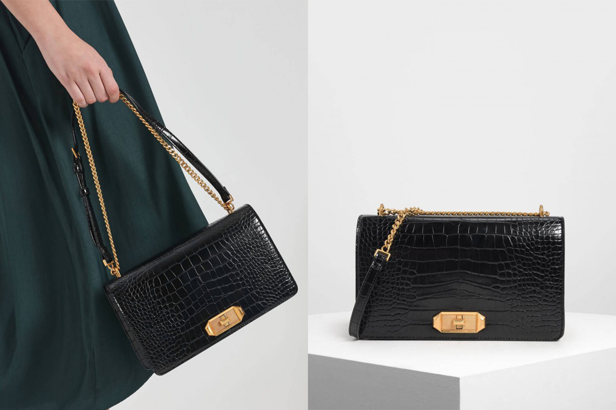 Croc-Effect Turn-Lock Crossbody