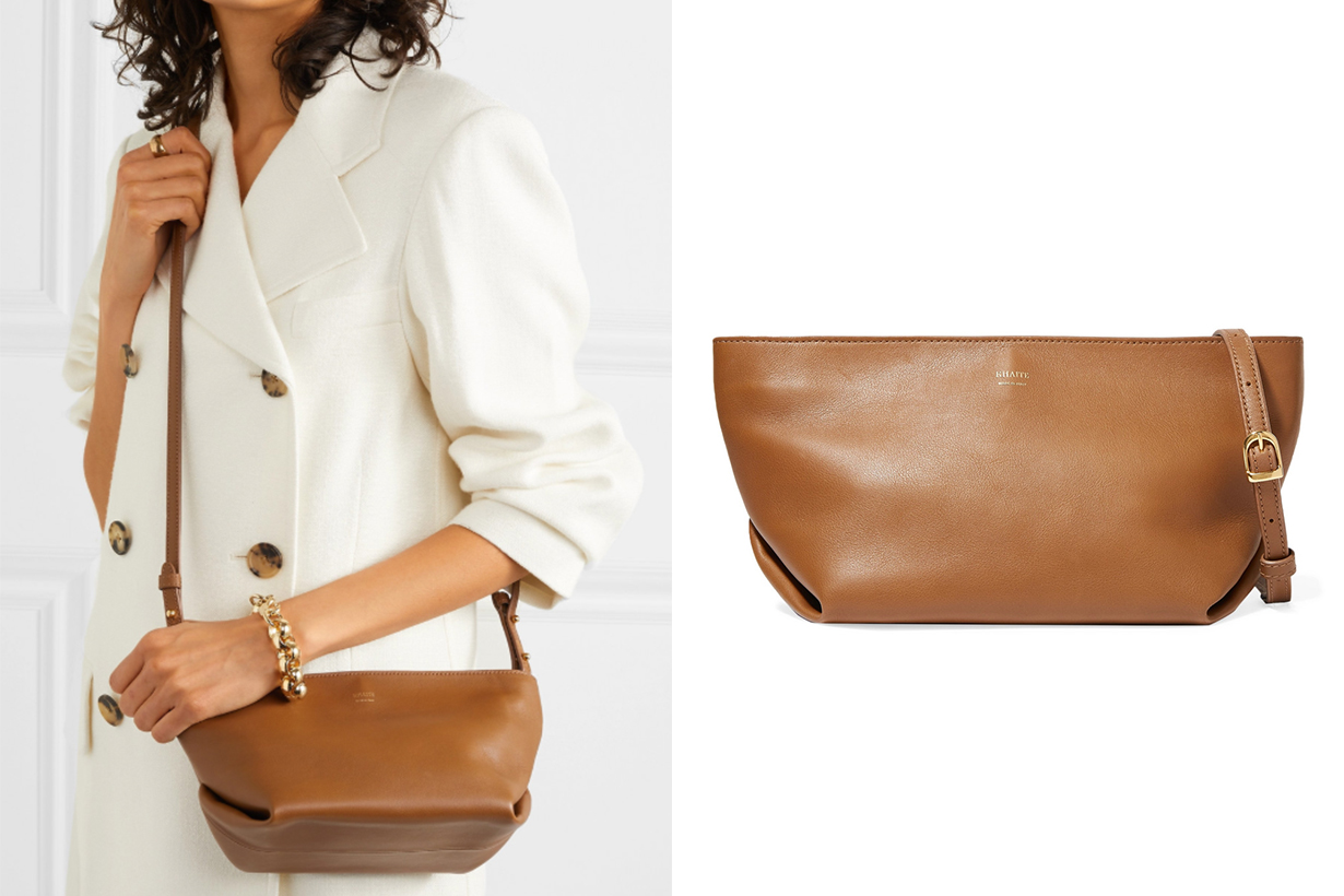 Envelope Pleat Leather Shoulder Bag