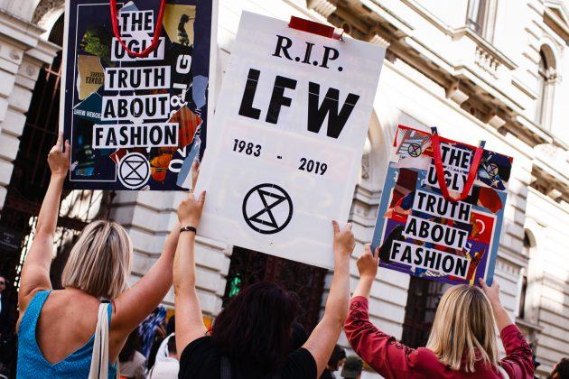 london fashion week lfw Extinction Rebellion protest funeral