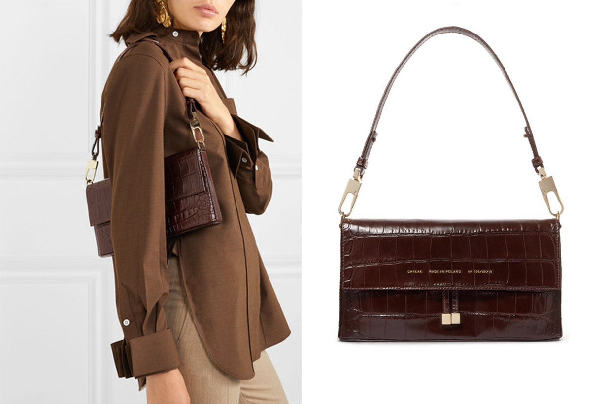 Flap Croc-Effect Leather Shoulder Bag