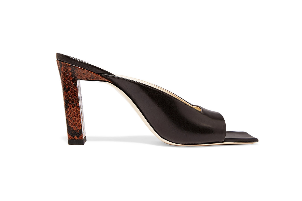 Isa Smooth and Snake-Effect Leather Mules