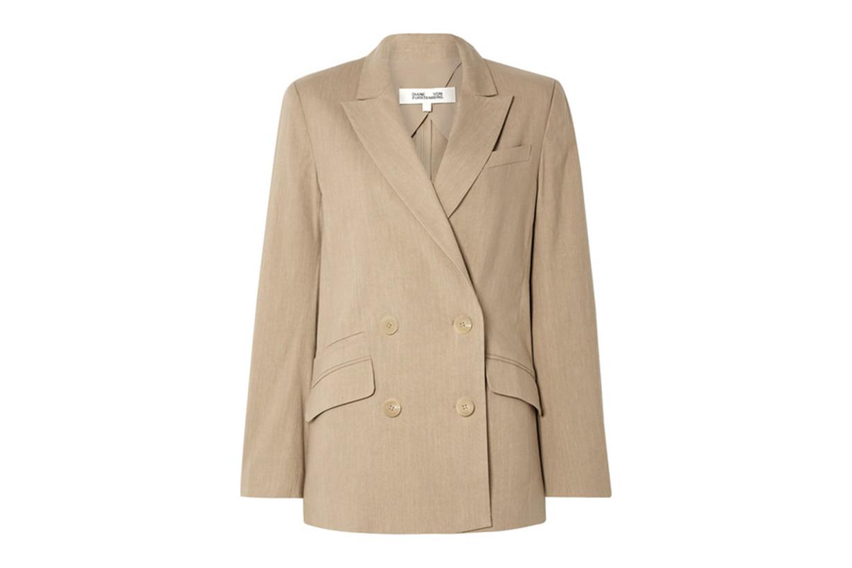 Diane von Furstenberg Madison Double-Breasted Linen-Blend Blazer