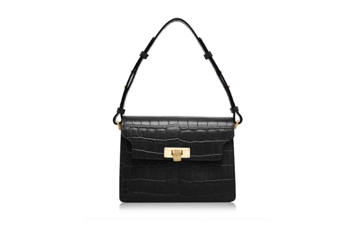 Marge Sherwood Vintage Brick Croc-Effect Leather Shoulder Bag