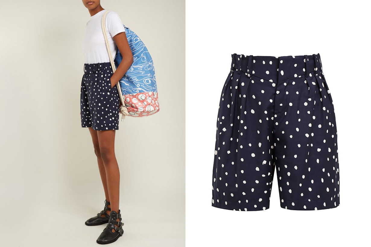 Polka Dot-Print Wool Shorts