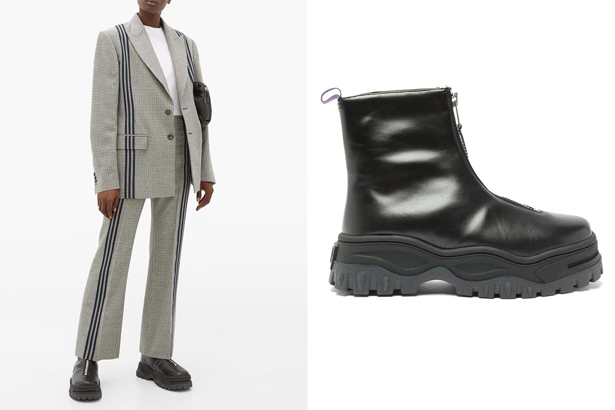 Raven Platform Sole Leather Ankle Boots