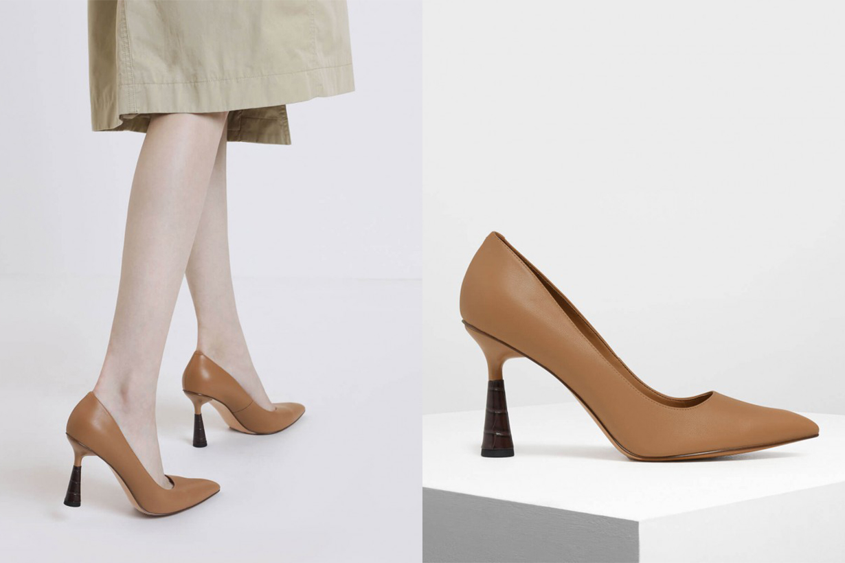 Sculptural Heel Pointed Toe Pumps