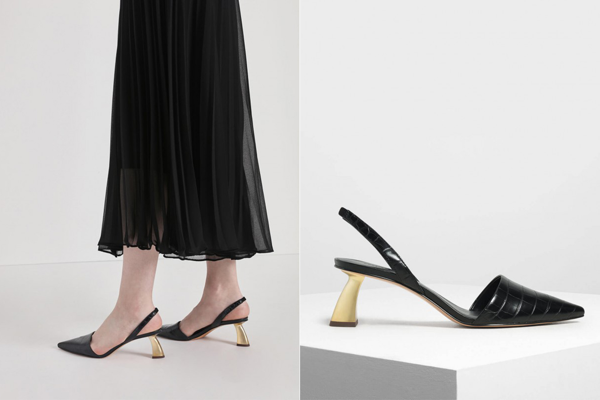 Sculptural Heel Slingback Pumps