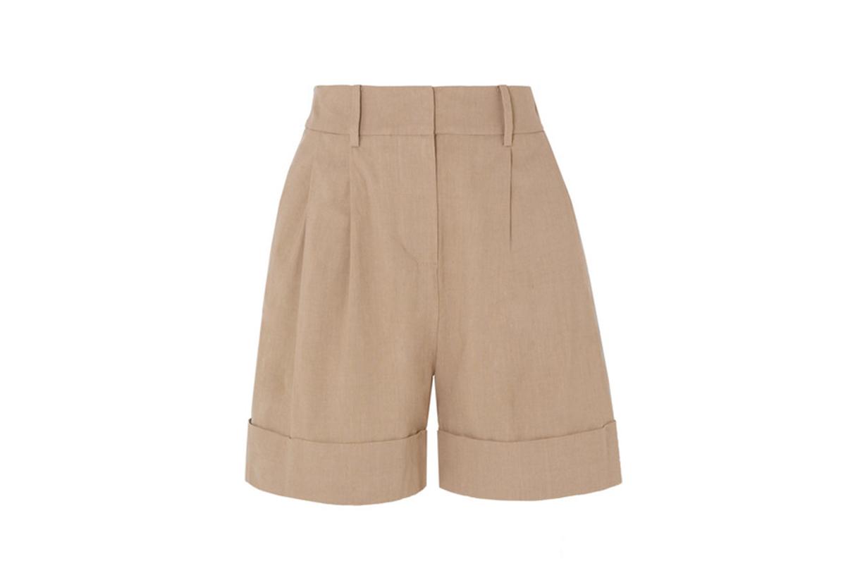 Shiana Pleated Linen-Blend Shorts
