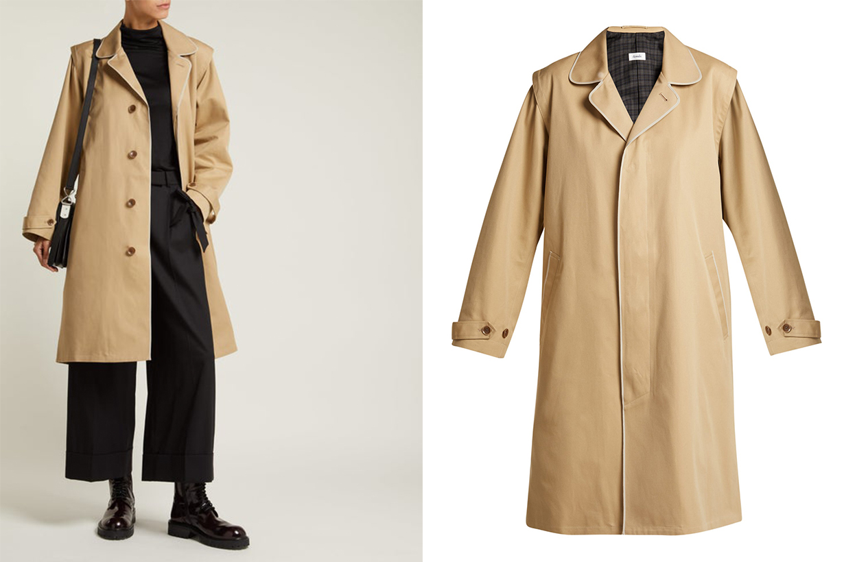 Single-Breasted Cotton-Twill Trench Coat