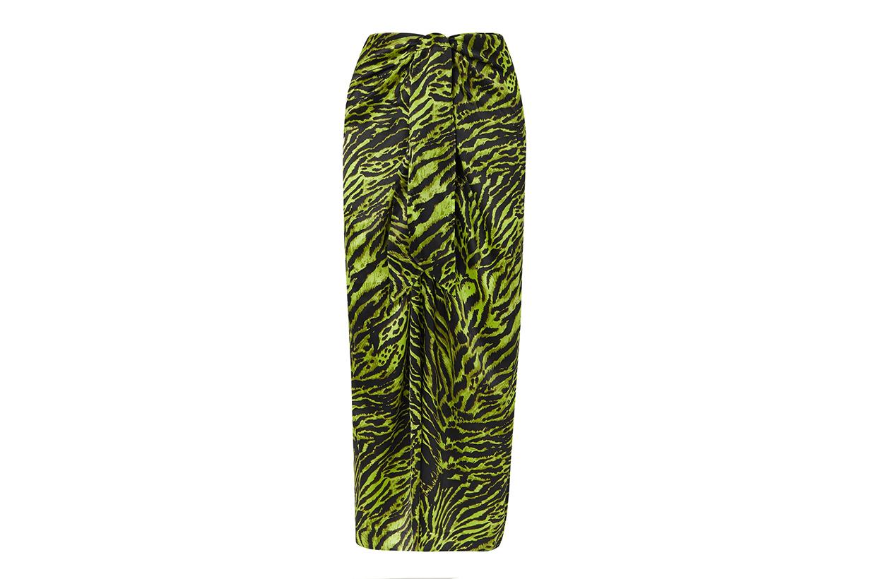Tie-Front Tiger-Print Silk-Blend Satin Midi Skirt