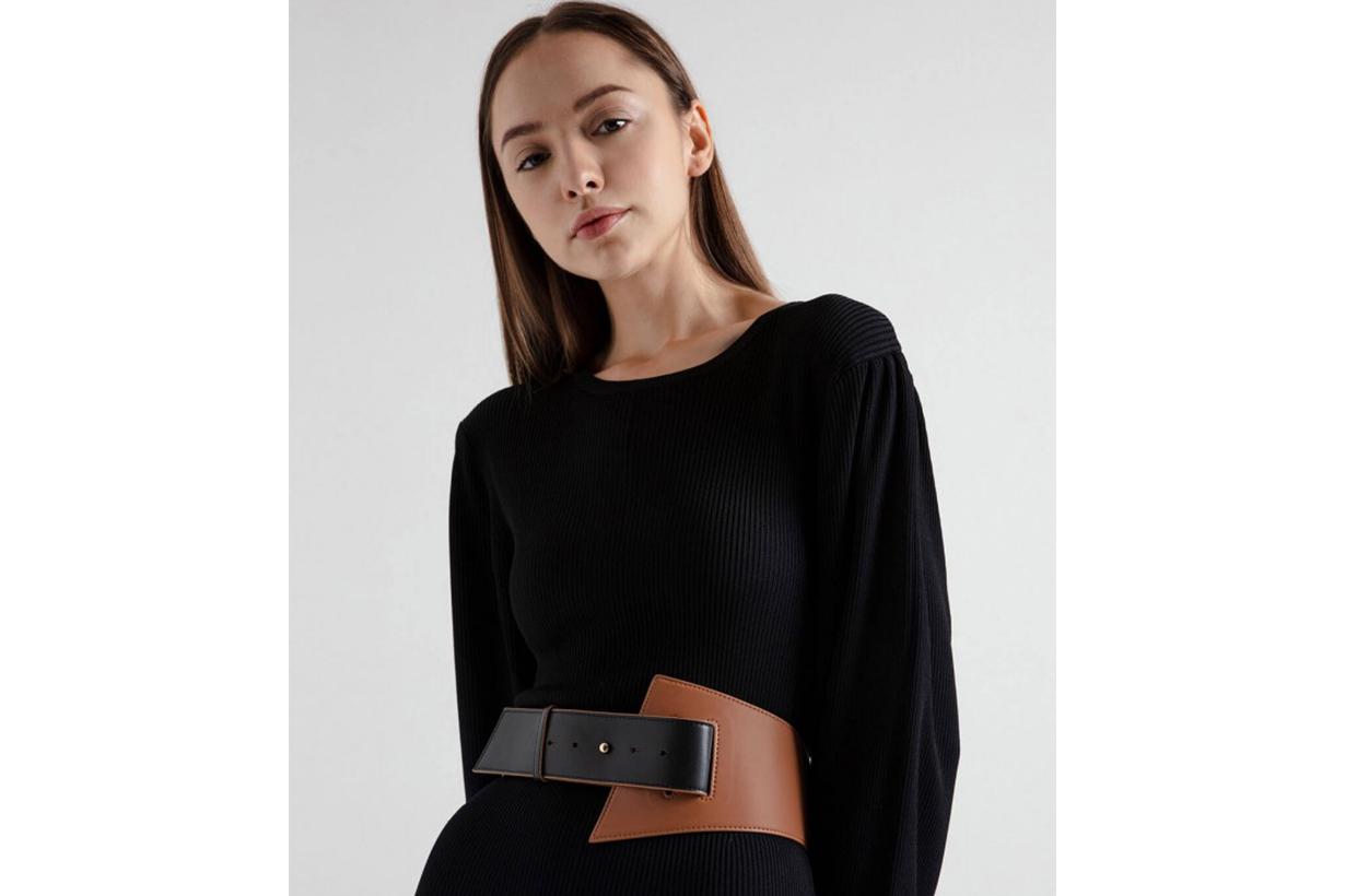 Two-Tone Asymmetric Waist Belt