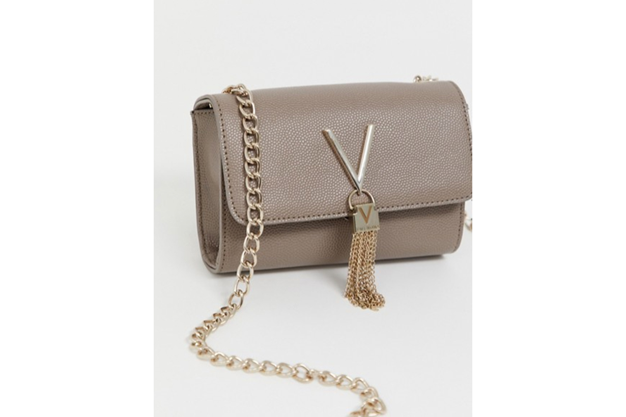 Valentino by Mario Valentino Divina Tassel Detail Camera Cross Body Bag in Taupe