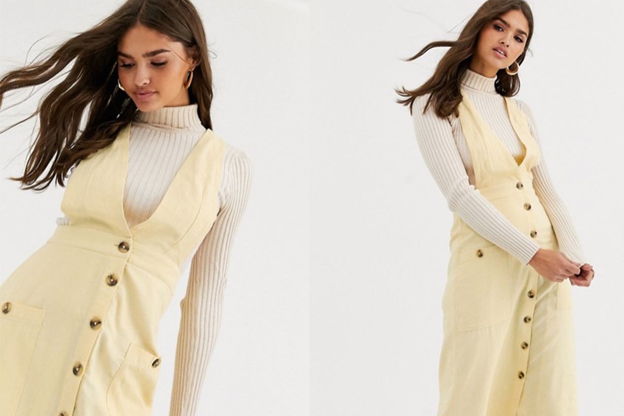 Warehouse Linen Button Front Pinafore Midi Dress in Lemon