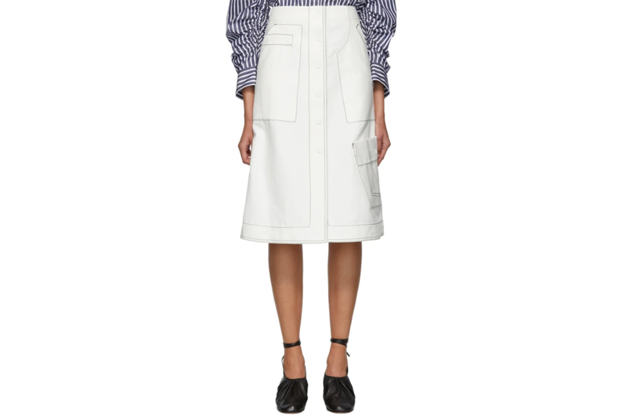 3.1 Phillip Lim Off-White High-Waisted Twill Skirt