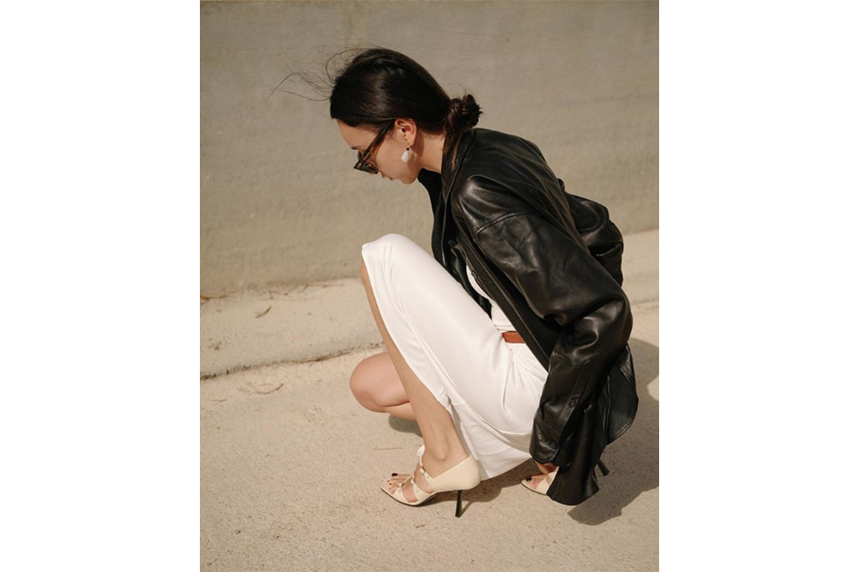 Leather Jacket and Silk Dress Fashion Style
