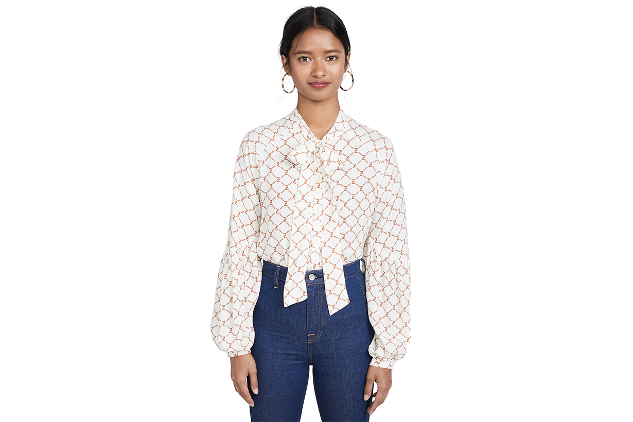 7 For All Mankind Tie Neck Top