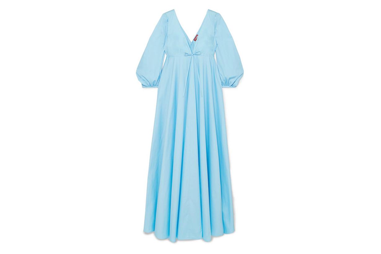 Amaretti Pleated Cotton-Blend Poplin Maxi Dress