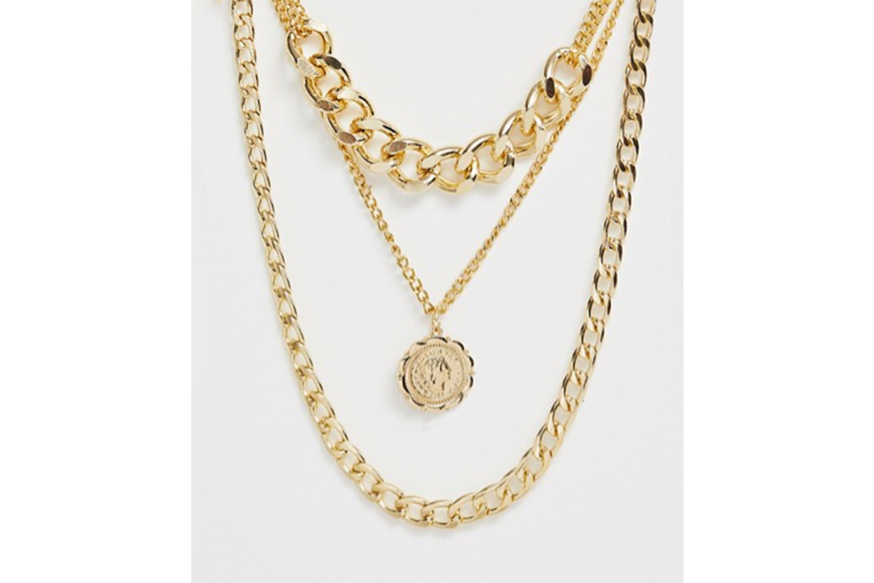 Ashiana Gold Multi Layered Chunky Chain and Pendant Necklace