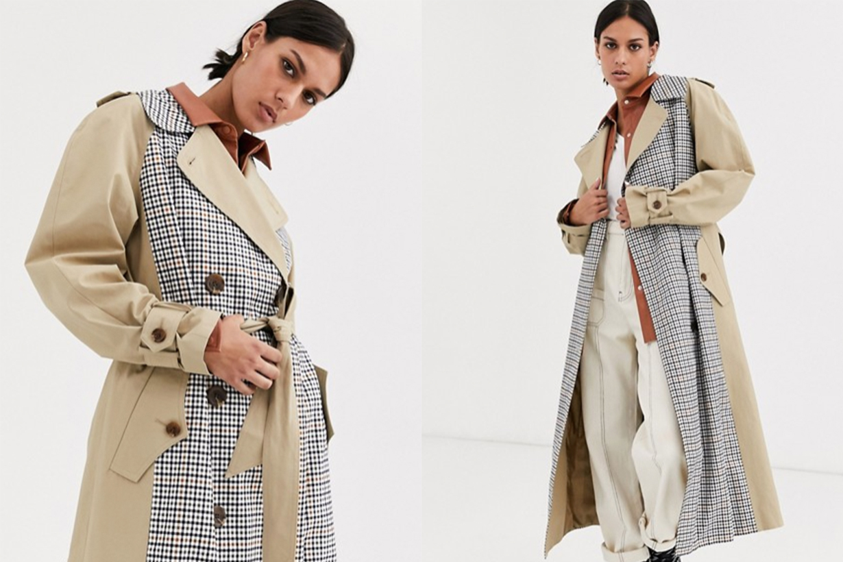 ASOS DESIGN trench coat with check splicing