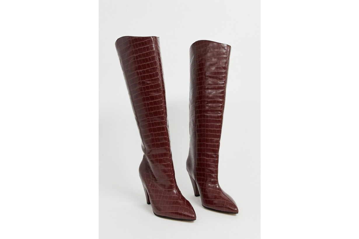 ASOS DESIGN Wide Fit Cherry Pull On Knee boots in Brown Croc