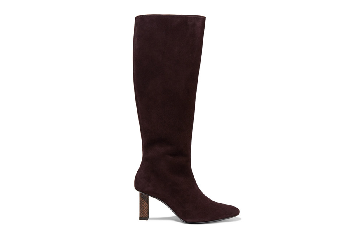 Benny Snake-Effect Leather-Trimmed Suede Knee Boots