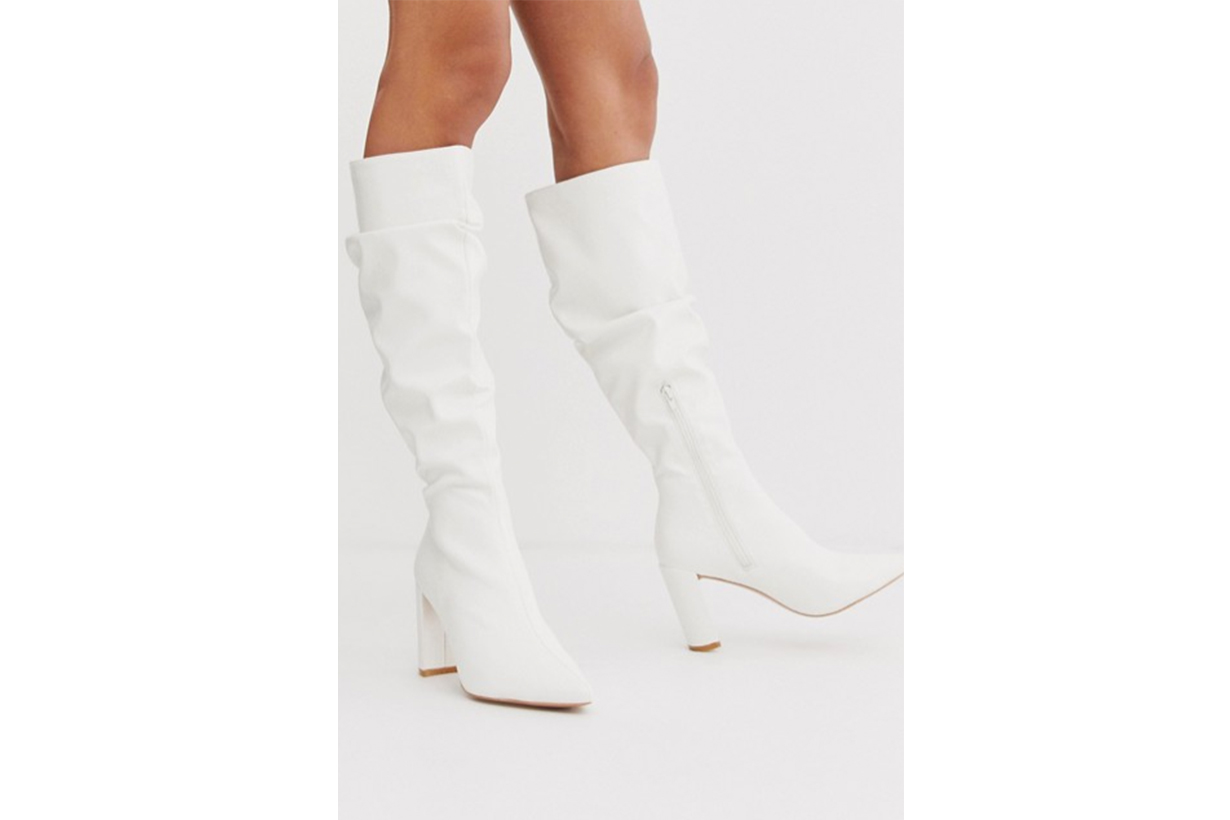 Boohoo Exclusive Knee High Boots with Block Heel in White