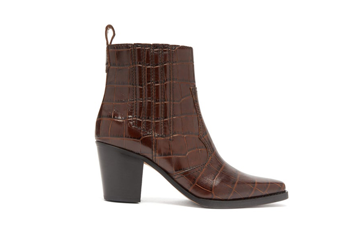 Callie Western Crocodile-Effect Leather Boots