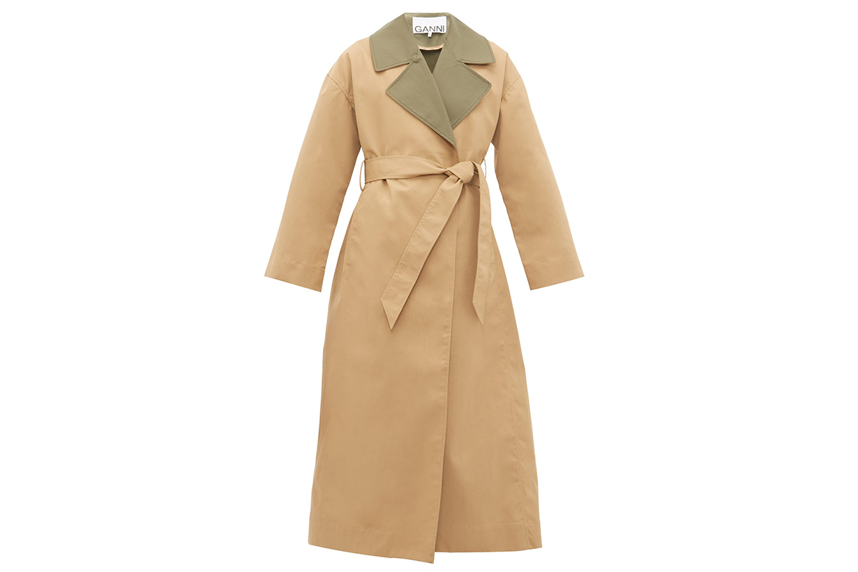 Contrast Collar Tie-Waist Trench Coat