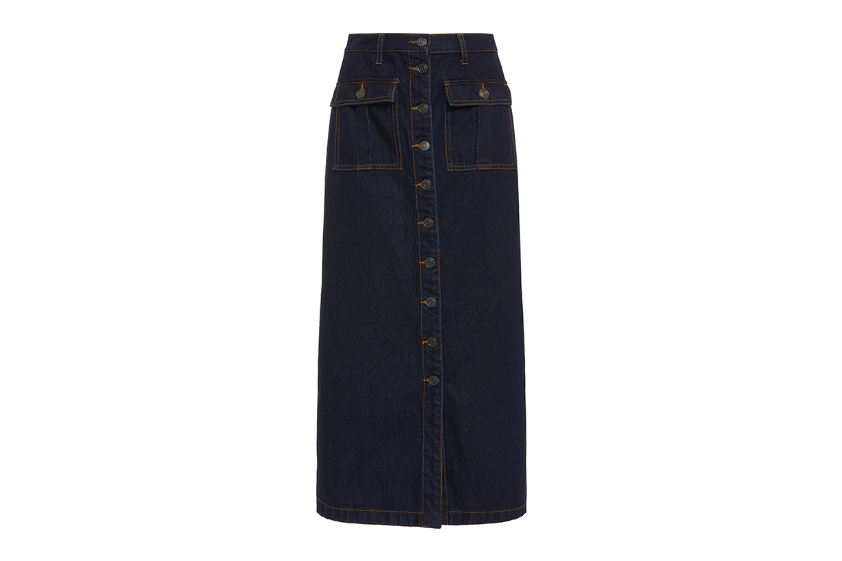 Current/Elliott Surfview Button-Embellished Denim Midi Skirt