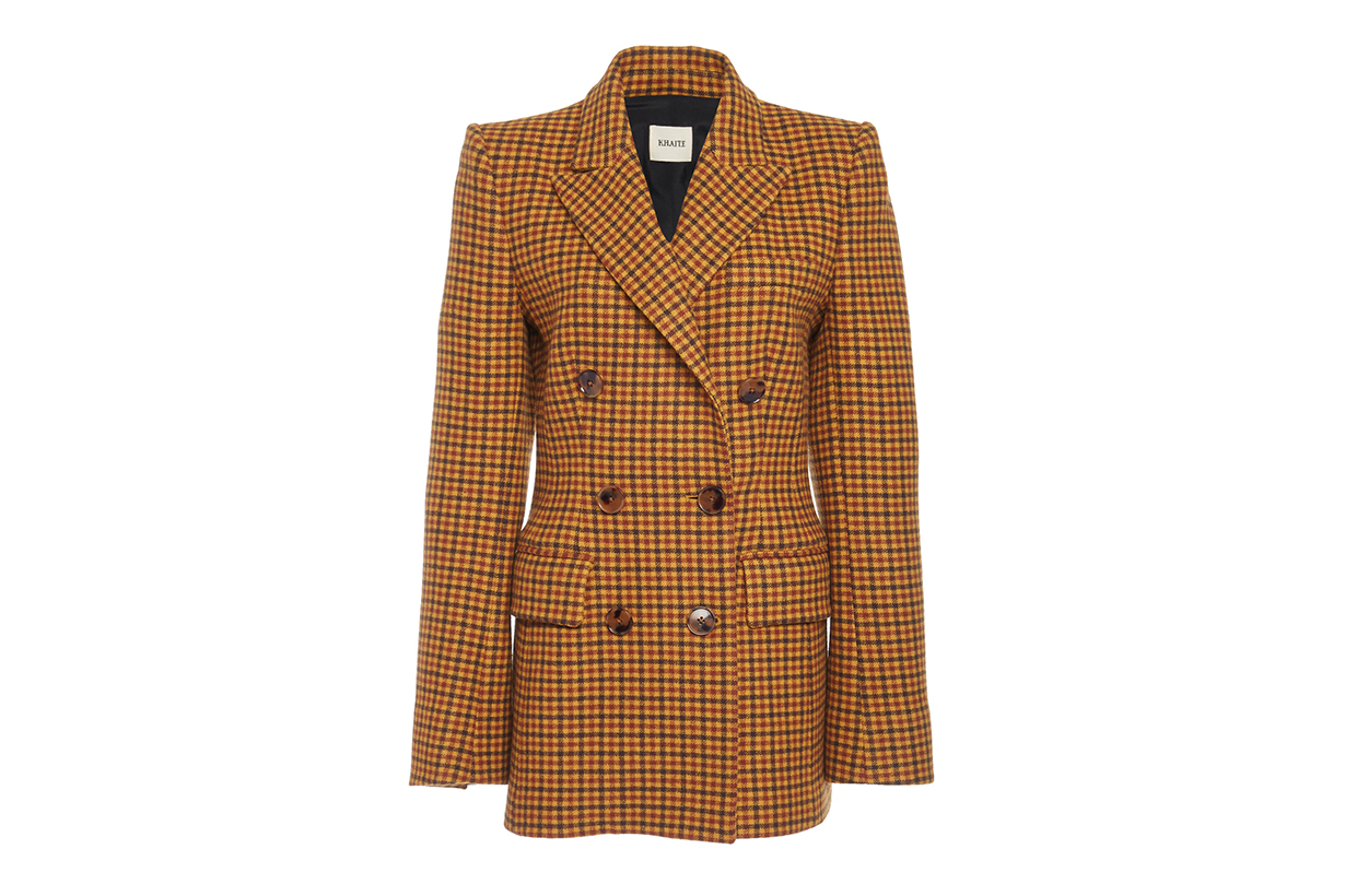 Darla Double-Breasted Checked Wool Blazer