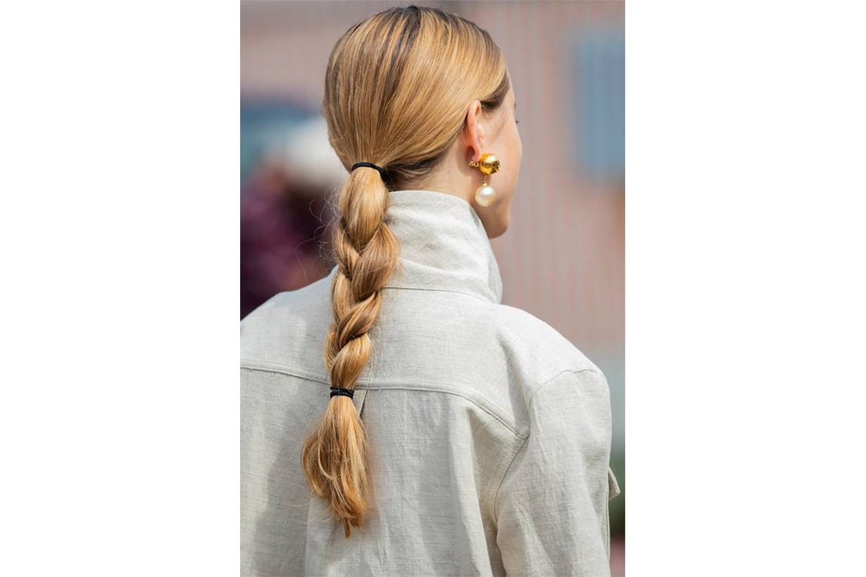 Double-Band Braids low ponytail braiding hairstyles trend 2019 fall winter New York Milan Paris Copenhagen fashion week trend
