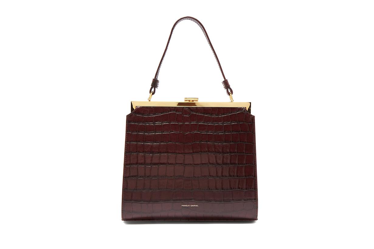 Elegant Crocodile-Effect Leather Clutch Bag