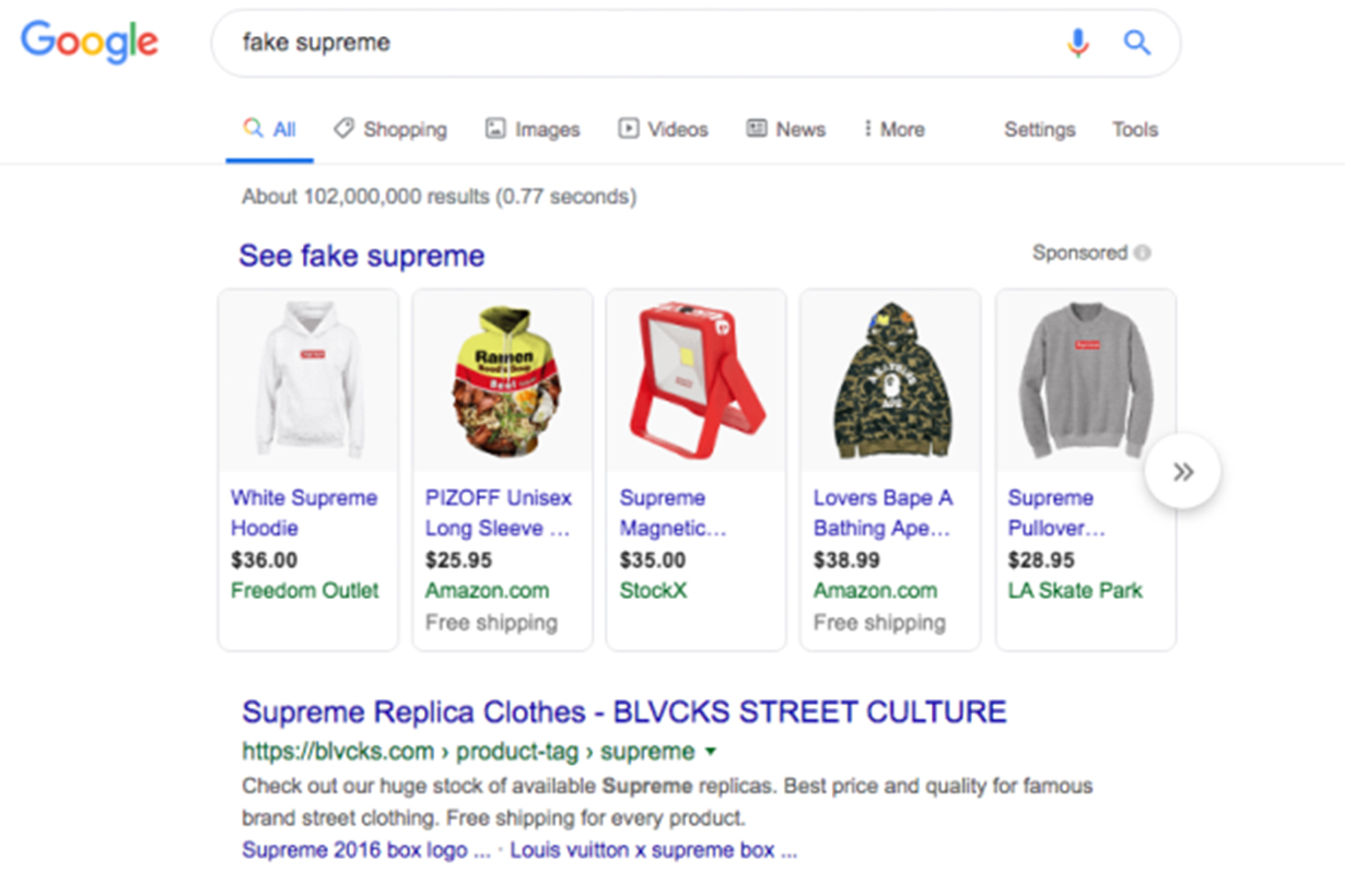 Google Search Fake Supreme
