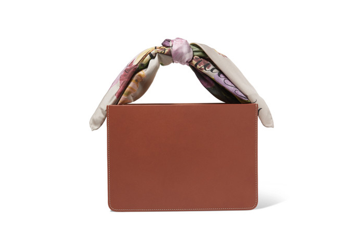 Guaria Printed Satin-Trimmed Leather and Linen Tote